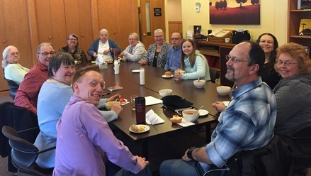Via de Cristo (VDC) gathering of past week-end participants enjoying a time of community and encouragement together